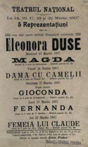 Locandina con Elenco dei titoli al Teatro Nazionale di Bucarest 1907 Fondazione Giorgio Cini